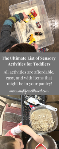 Sharing my favorite sensory activities for toddlers by Heather Brown at My Life Well Loved // #playtime #toddleractivities #sensoryactivities