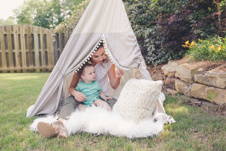 E & E Teepee // Toddler Gift Ideas // Olive green moto legging pants // Littles Style: Mom and Baby Fashion // Style tips from Heather Brown of MyLifeWellLoved.com