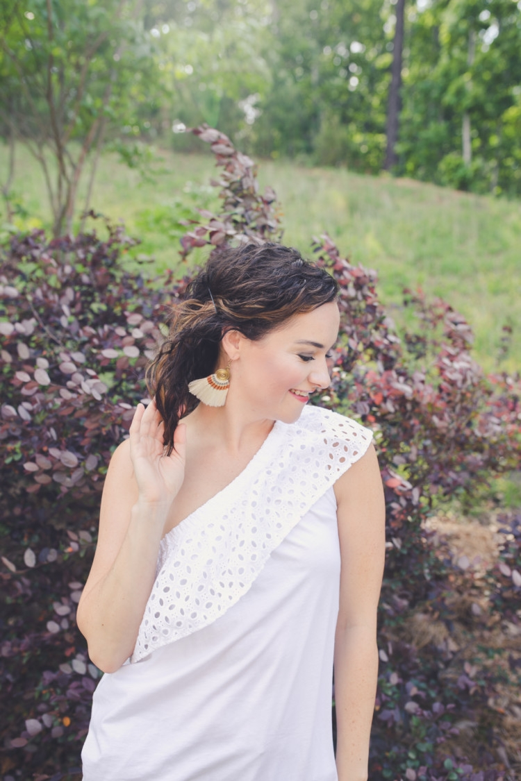 LOFT white off the shoulder one shoulder top // Littles Style: Mom and Baby Fashion // Style tips from Heather Brown of MyLifeWellLoved.com