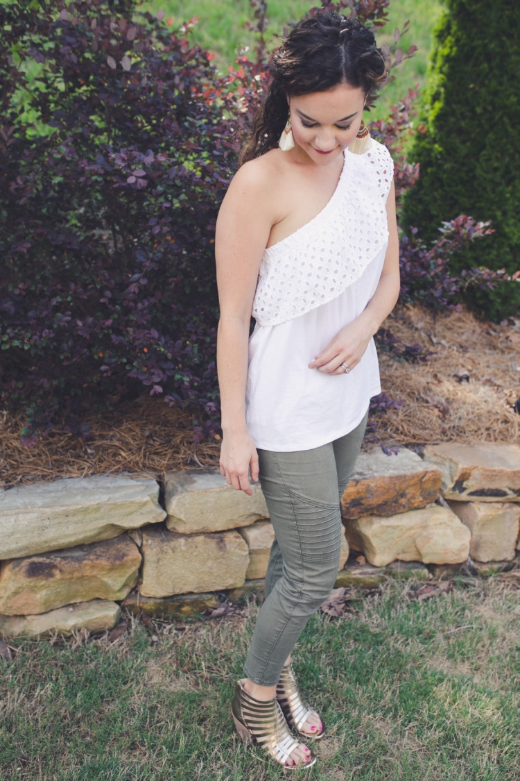 Olive green moto legging pants // Littles Style: Mom and Baby Fashion // Style tips from Heather Brown of MyLifeWellLoved.com