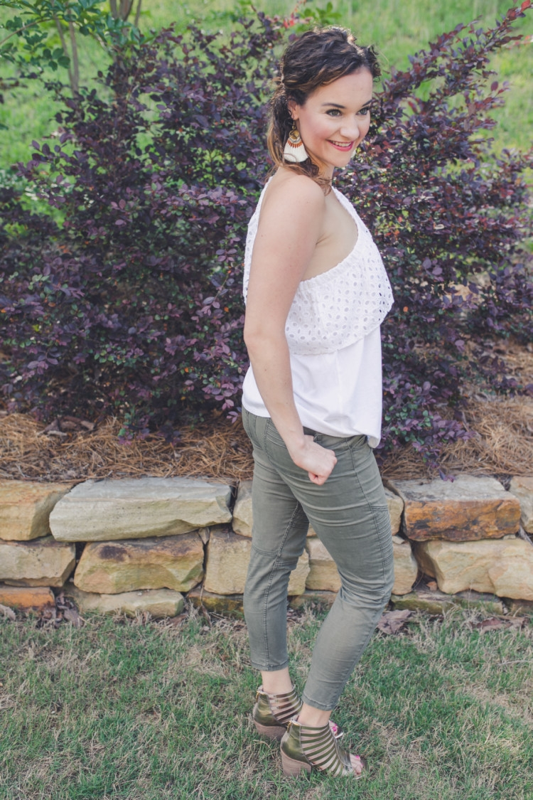 White one shoulder top + Olive green moto legging pants // Littles Style: Mom and Baby Fashion // fringe earrings from Heather Brown of MyLifeWellLoved.com