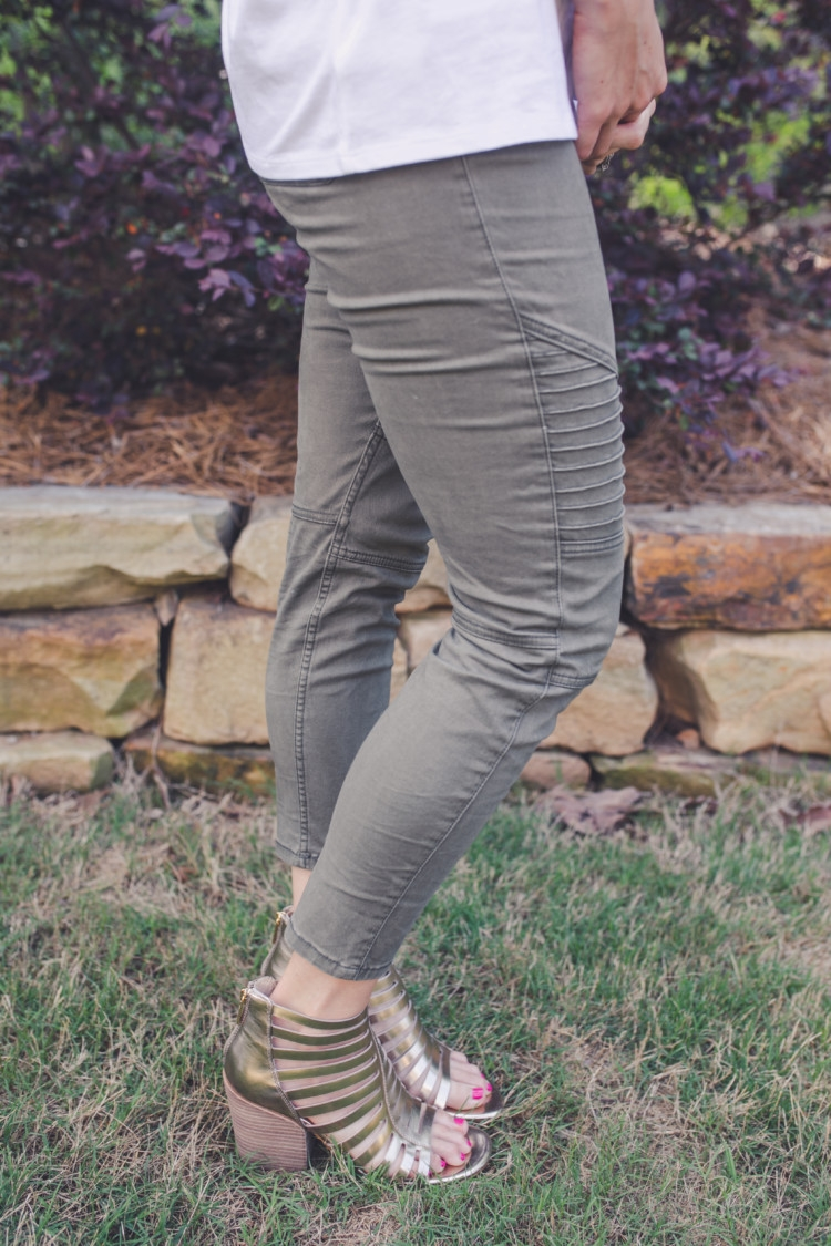 Olive green moto legging pants // Littles Style: Mom and Baby Fashion