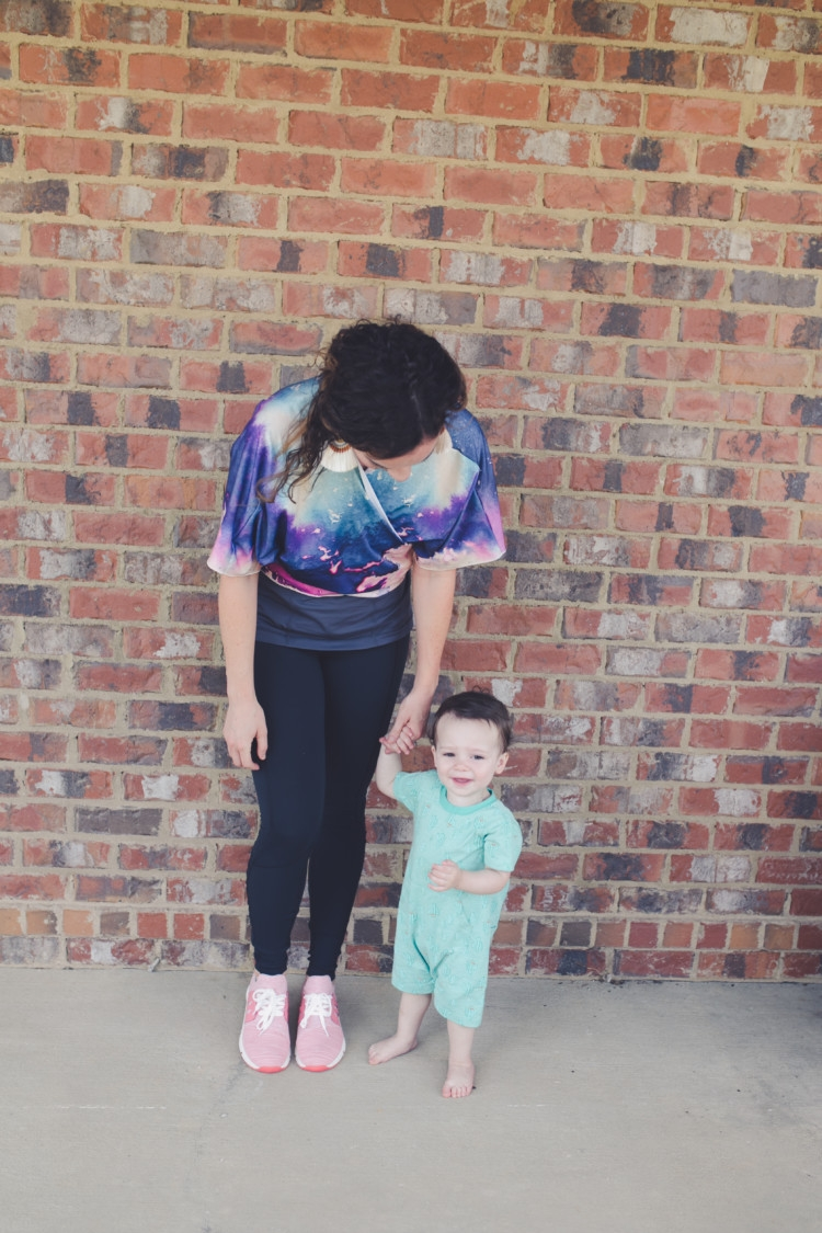 Littles Style with mom and baby boy: kimono athleisure wear styled several ways // fitness // pure barre style with Heather Brown of MyLifeWellLoved.com