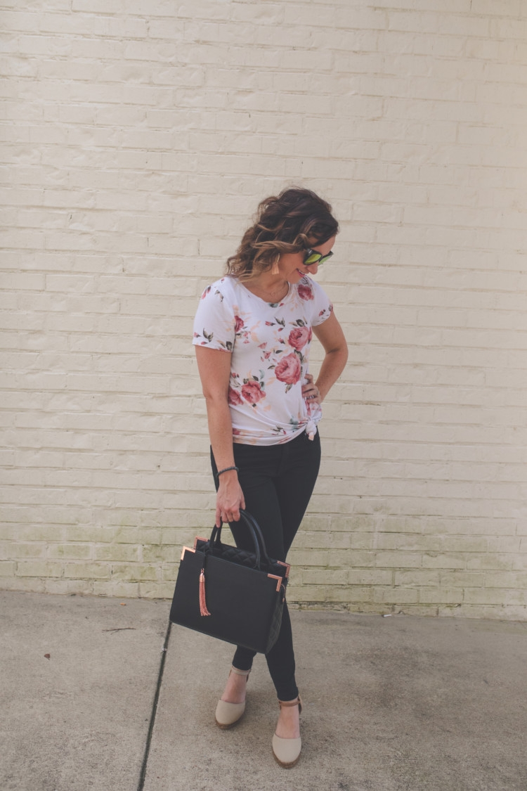 floral and denim mom fashion // jean jacket // black purse // black ripped denim from healthy lifestyle alabama blogger heather of mylifewellloved.com