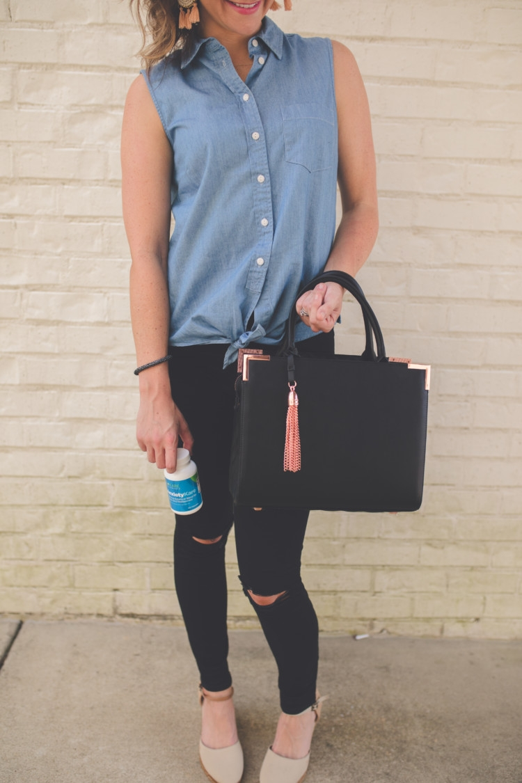 Mom Energy: How to get it and achieve it from Alabama blogger Heather of MyLifeWellLoved.com / Biokare // Black Purse // Black ripped denim // Chambray Top // Tie Up Top // mom fashion // black purse