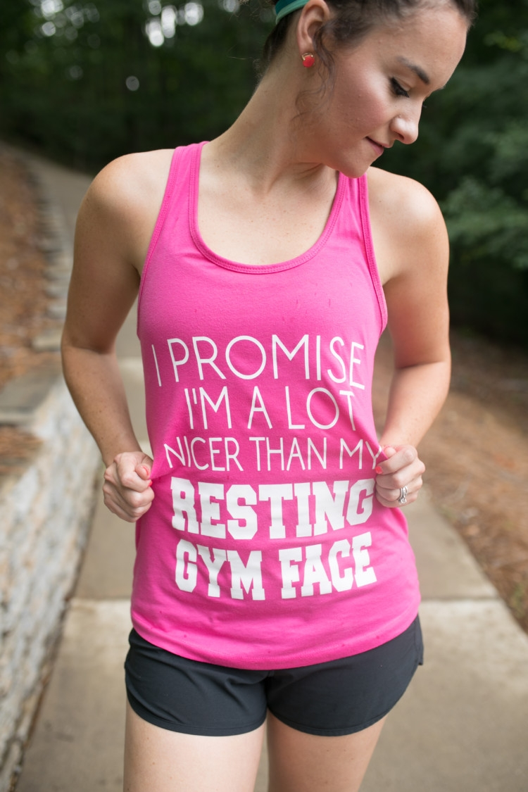 I promise I'm a lot nicer than my resting gym face quote // Running basics you need to know to Train for a 5k for Moms from Heather Brown of MyLifeWellLoved.com // Running Tips // How to start running // Stretching for runners