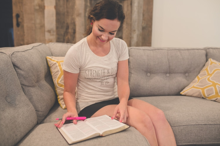 Strength & Dignity Tee-shirt Holy Grit: The Mind - 30 Day Devotional Series on Mark 12:30 for women. Fitness Devotional for women. Bible Study from Heather Brown of MyLifeWellLoved.com