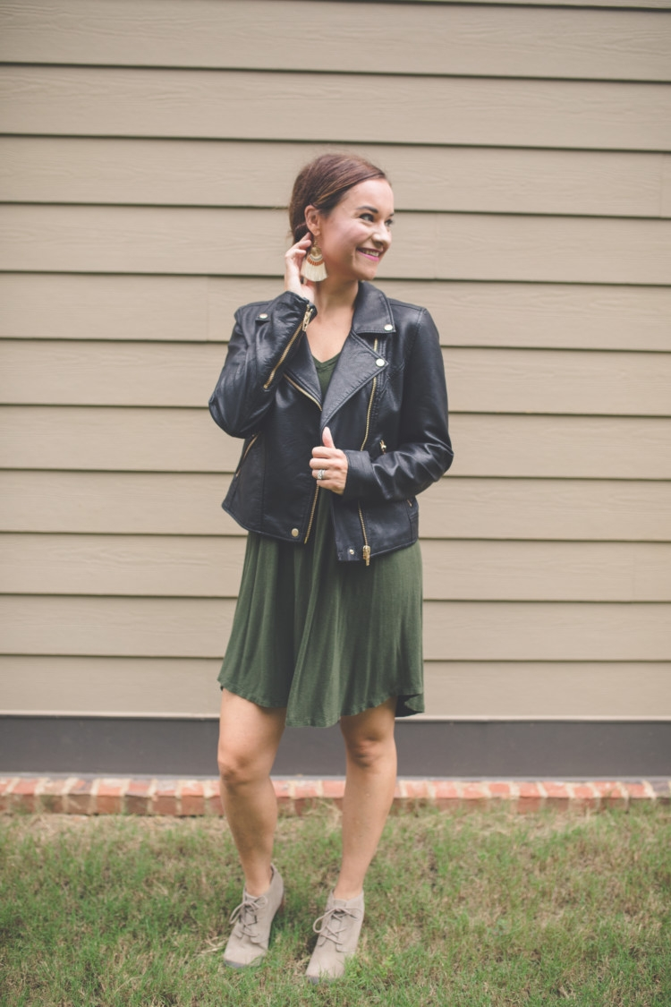 fall Mom Friendly Fall Outfit Ideas // mom fashion from Heather of MyLifeWellLoved.com // leather jacket // fringe earrings // swing dress// toms shoes