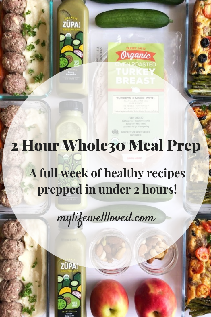 A full week of recipes and meal ideas prepped in 2 hours by Heather at MyLifeWellLoved // #whole30 #mealprep #healthyrecipes