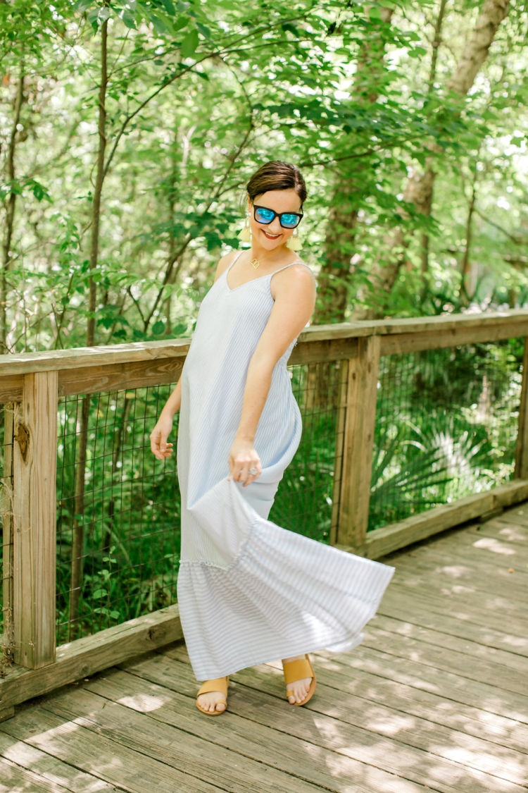Non Maternity Dresses for Pregnancy from Alabama blogger Heather of MyLifeWellLoved.com // blue and white striped summer dress // #bumpstyle #pregnancy