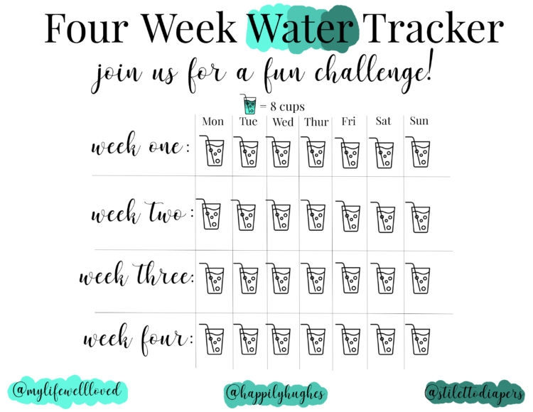 picture relating to Printable Water Tracker titled 30 Working day Drinking water Trouble - My Everyday living Very well Relished