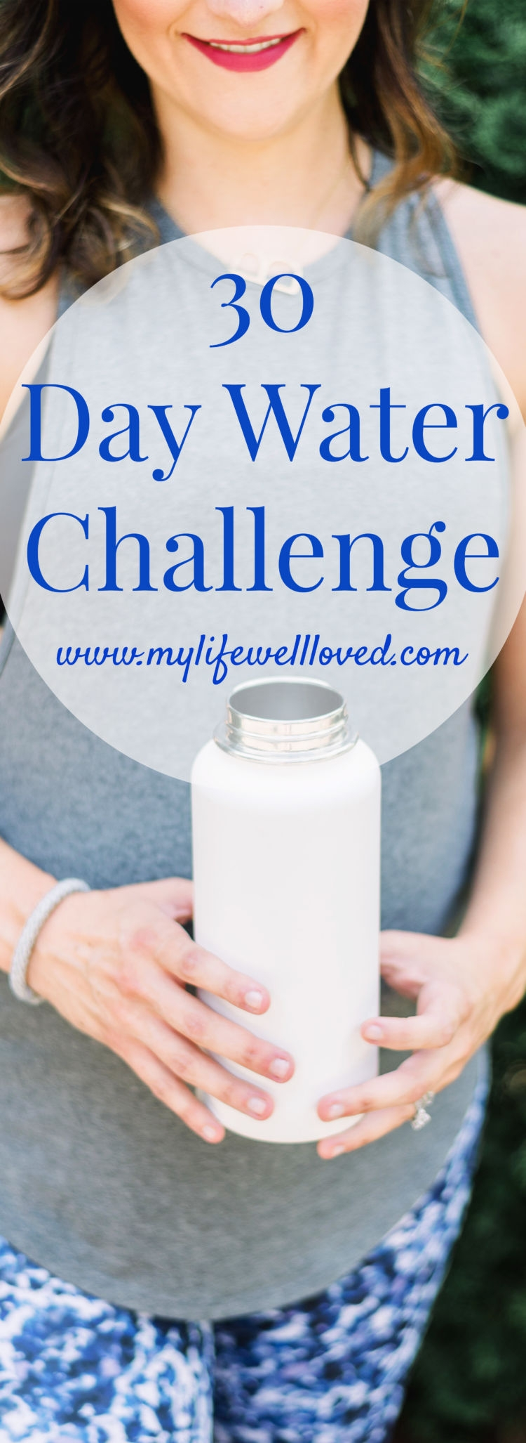 30 day water challenge from Alabama healthy lifestyle blogger Heather of MyLifeWellLoved.com // #WaterChallenge