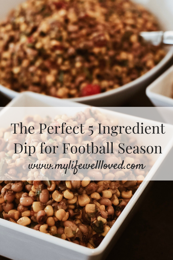 Easy & delicious healthy 5 ingredient football dip recipe for game day by Heather @ MyLifeWellLoved.com // #footballdip #gameday #healthyrecipe #easyrecipe