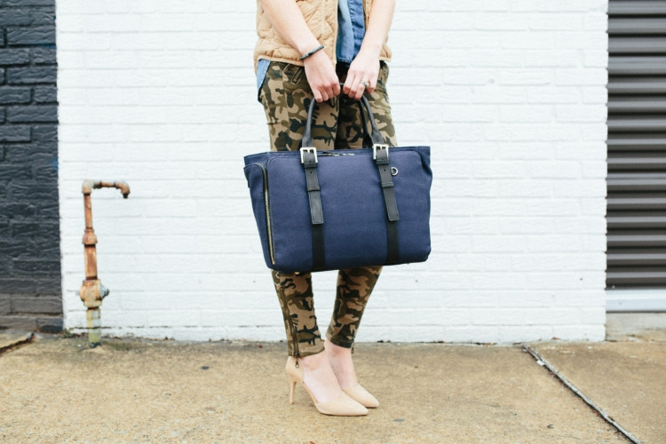 How to Style Camo two different ways from Heather Brown of MyLifeWellLoved.com // Camo Pants // Camo Dress style ideas // Camo Fashion // Mom Style // India Hicks Bag