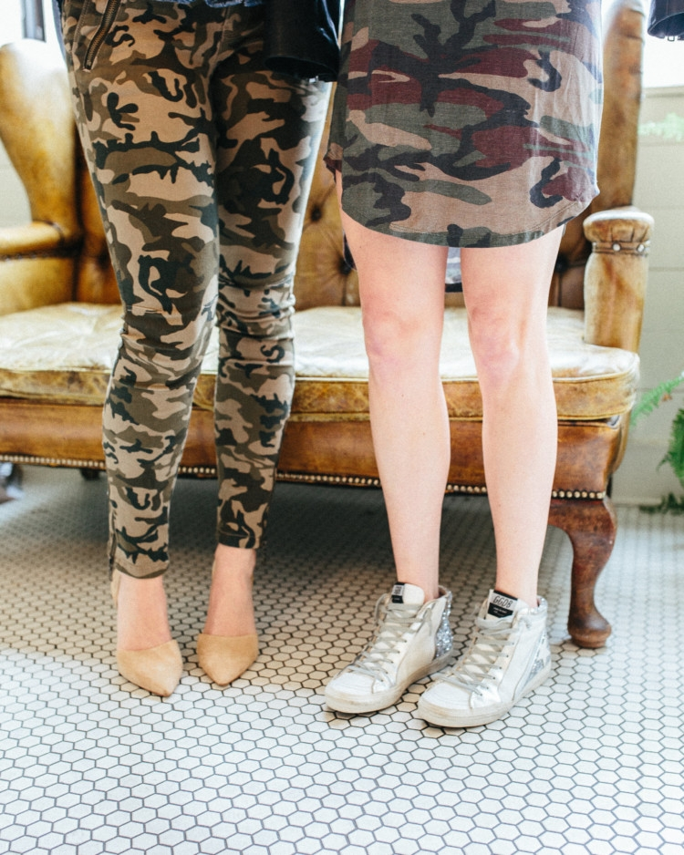 How to Style Camo two different ways from Heather Brown of MyLifeWellLoved.com // Camo Pants // Camo Dress style ideas // Camo Fashion // Mom Style