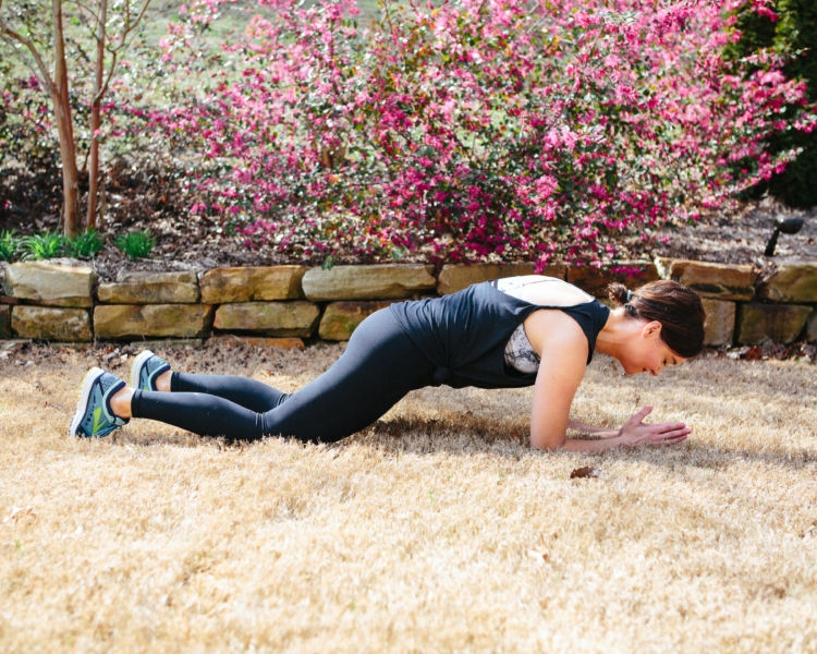 Plank Challenge Pregnancy Modifications from Fitness Alabama blogger Heather of mylifewellloved.com // marble sports bra #plankchallenge #fitness