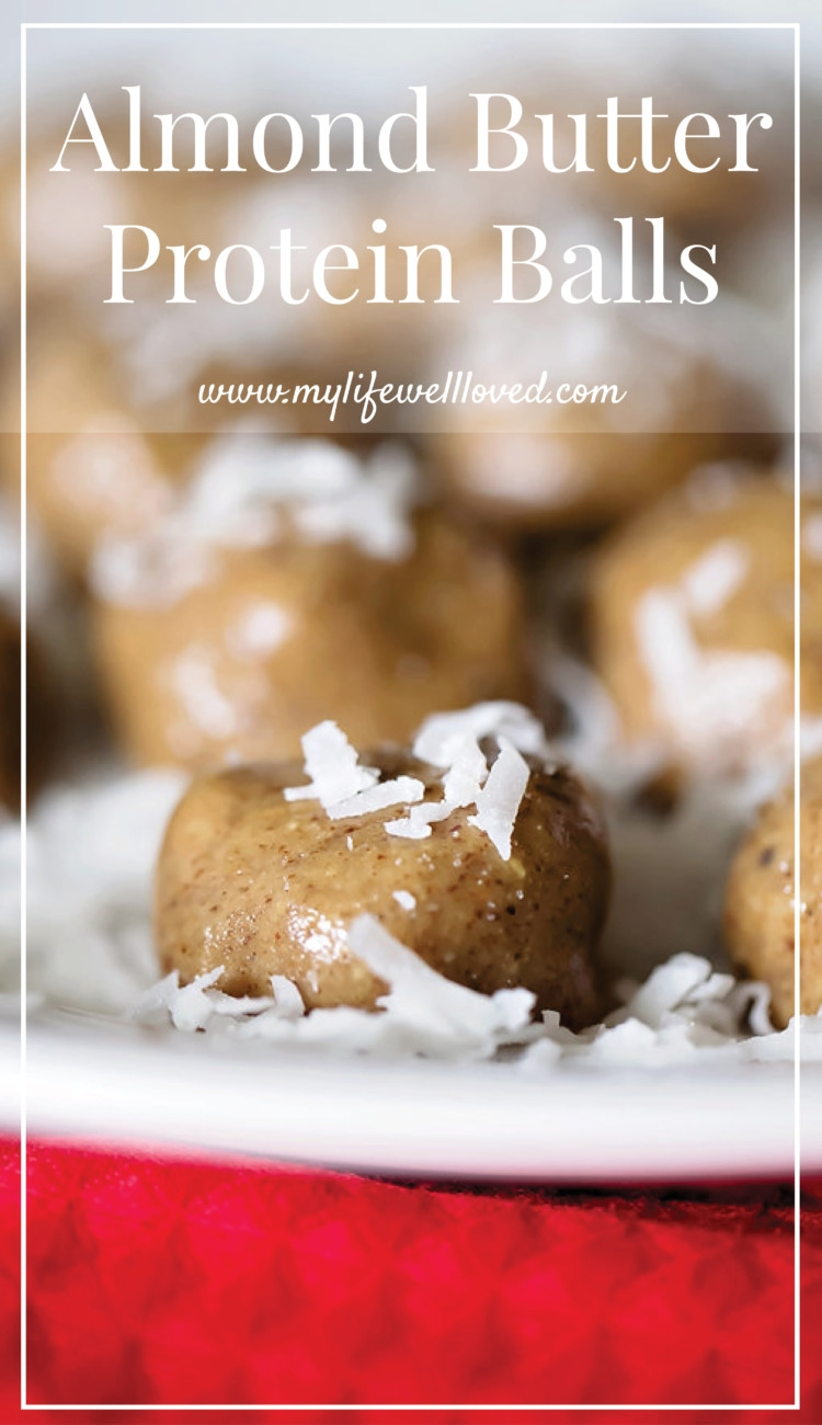 Almond Butter Protein Balls from Alabama blogger Heather of MyLifeWellLoved.com // paleo dessert // paleo snack // whole30 snack // whole30 dessert recipe