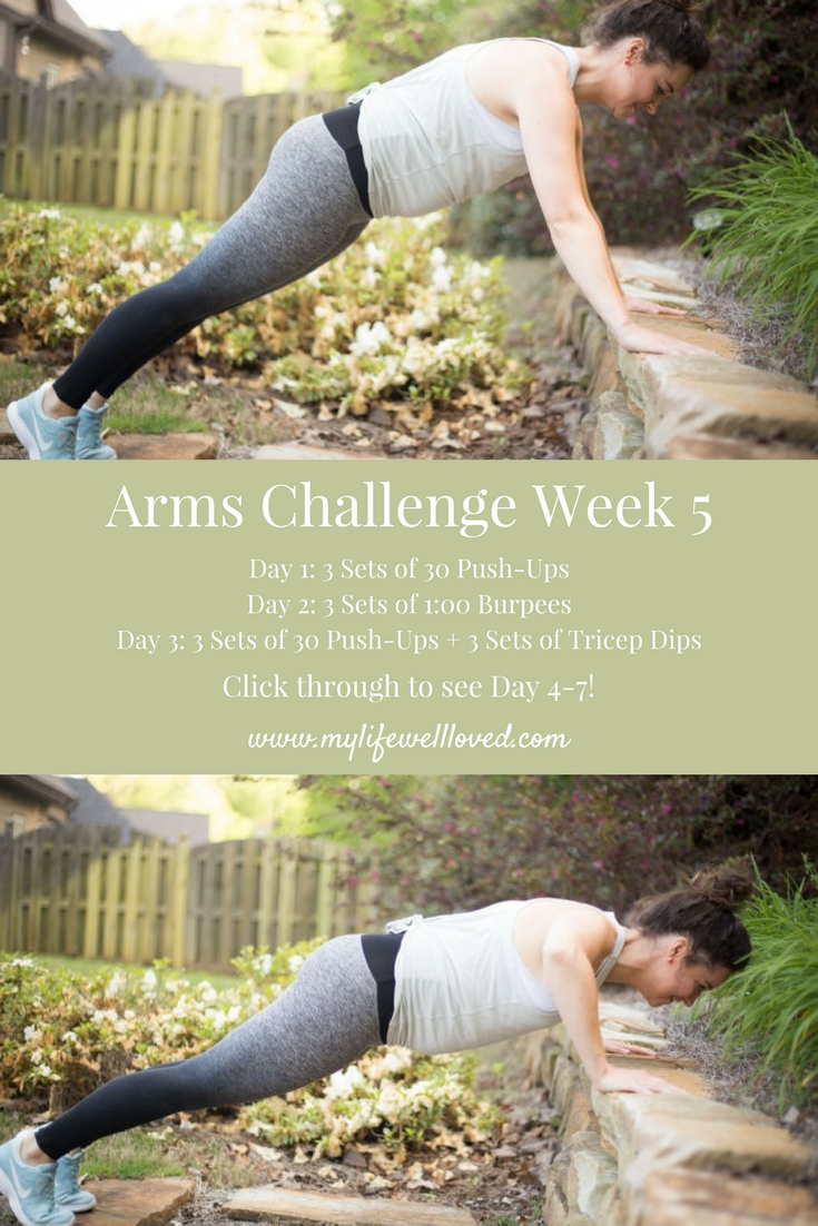 Arms Challenge by alabama fitness blogger heather of MyLifeWellLoved.com #maternityfitness #prenatalworkout
