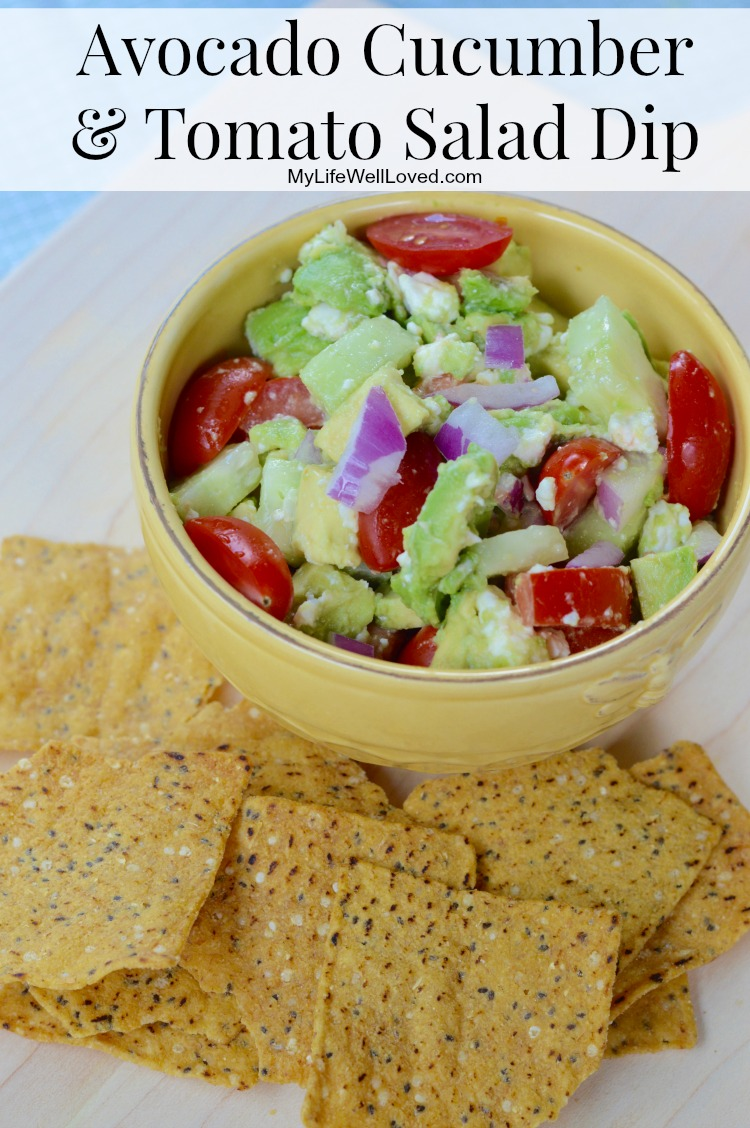 Avocado Cucumber Tomato Dip: Eat it plain as a salad or side or load it up on an organic, all natural chip! Such a light and refreshing appetizer in the summer