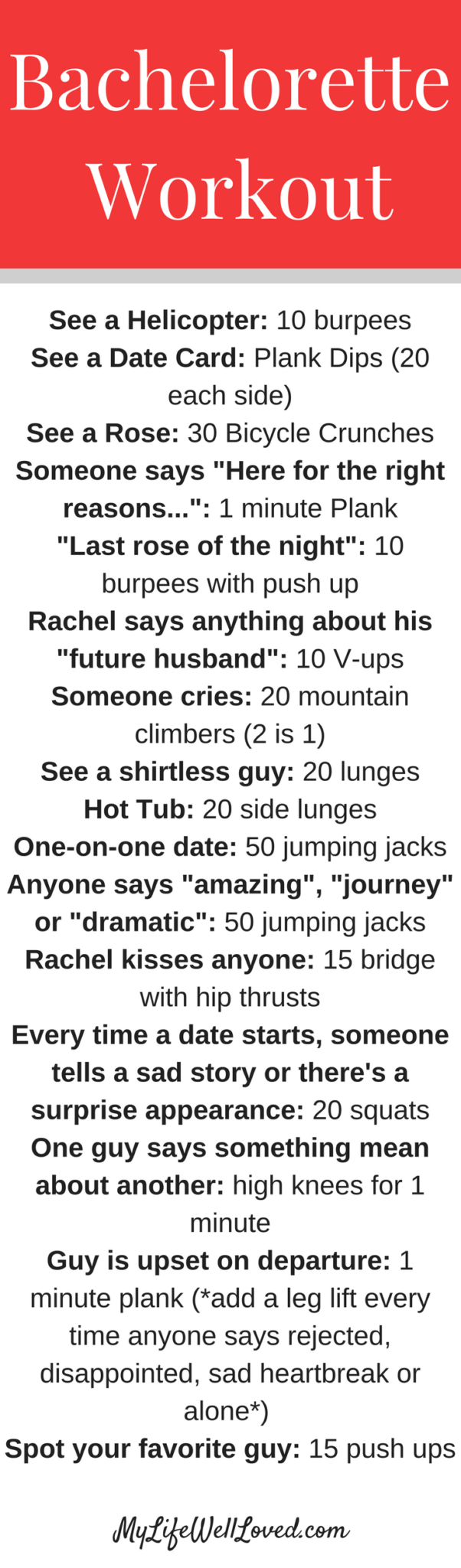 The Bachelorette Workout Game // The Bachelor Workout Game from Heather of MyLifeWellLoved.com // Bachelorette party ideas