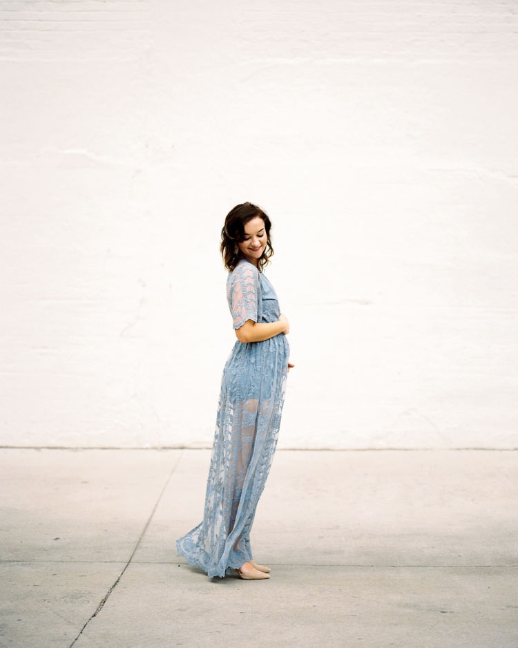 Fourteen Weeks Pregnant Update from Alabama mom blogger Heather of MyLifeWellLoved.com // blue lace dress / photo shoot styling #pregnancy #lacedress #pregnancyannouncement
