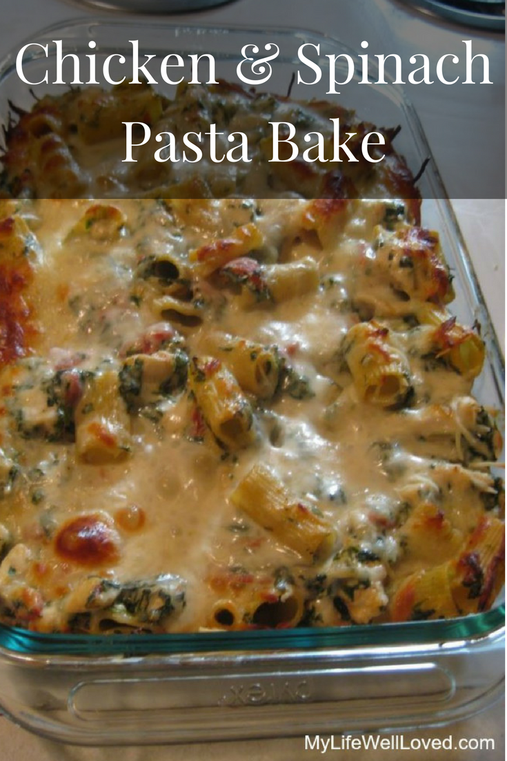 Delicious Spinach & Chicken Pasta Bake by Alabama lifestyle blogger Heather of My Life Well Loved