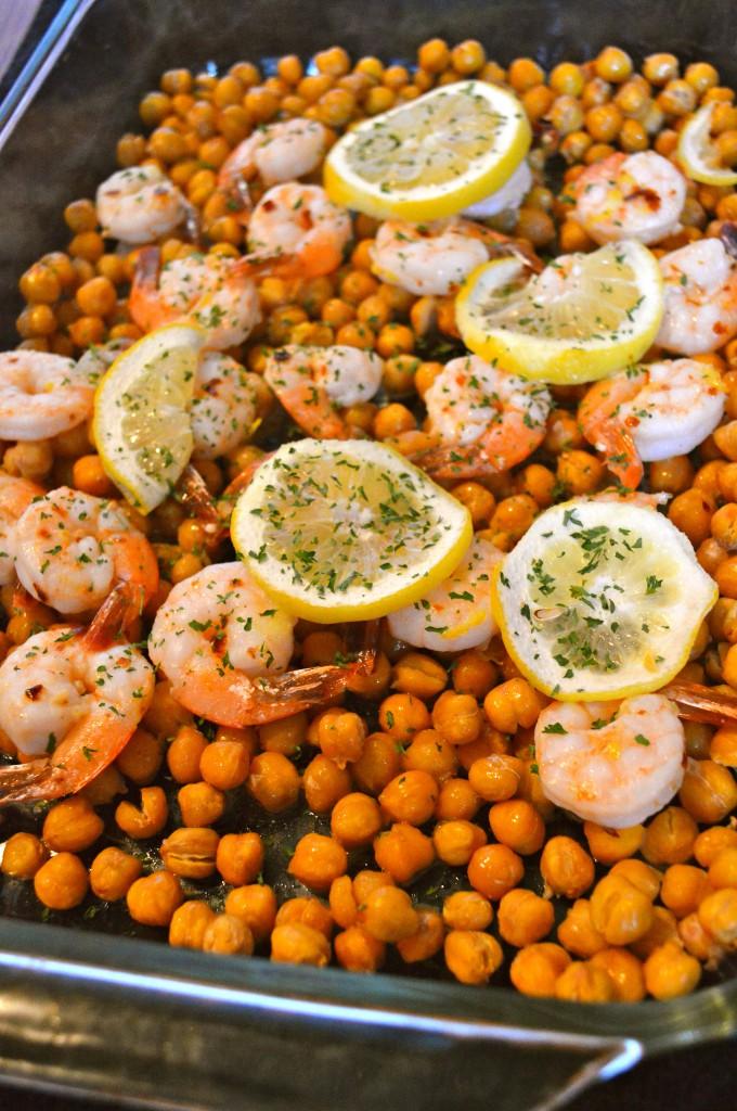 Spicy Lemon Shrimp over Chickpeas l MyLifeWellLoved.com
