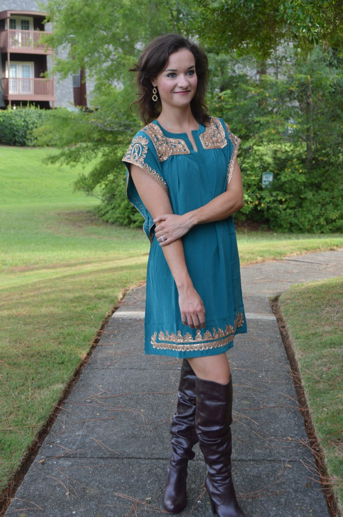 Fall green and over the knee brown boots