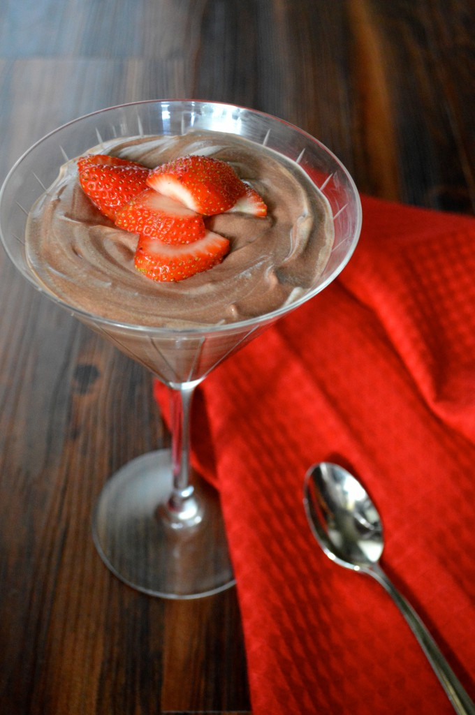 Marbled Chocolate Pudding with Strawberries