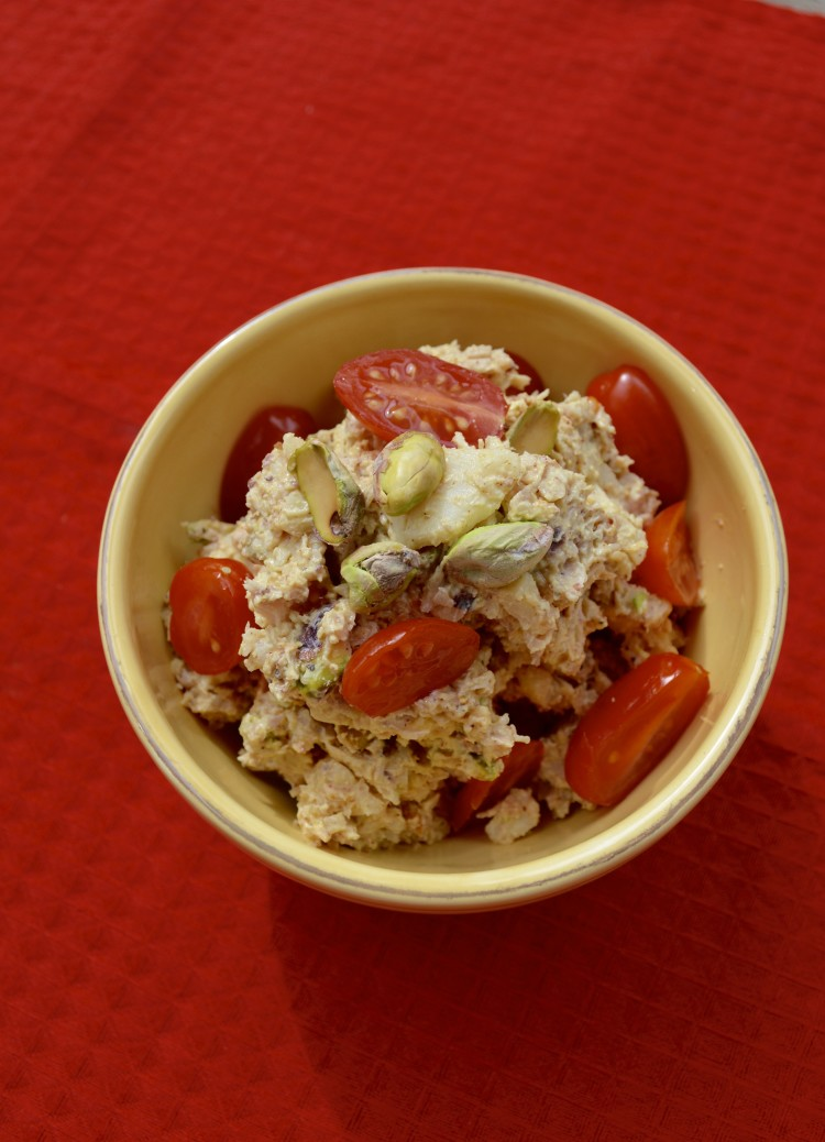 Healthy Curry Chicken Salad. Eat it plain, add tomatoes or serve it over lettuce. It packs a crunch and awesome texture!