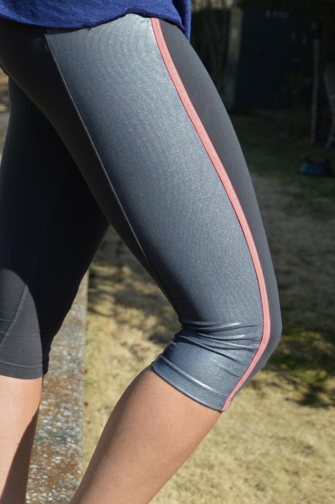 Metallic sheen workout pants