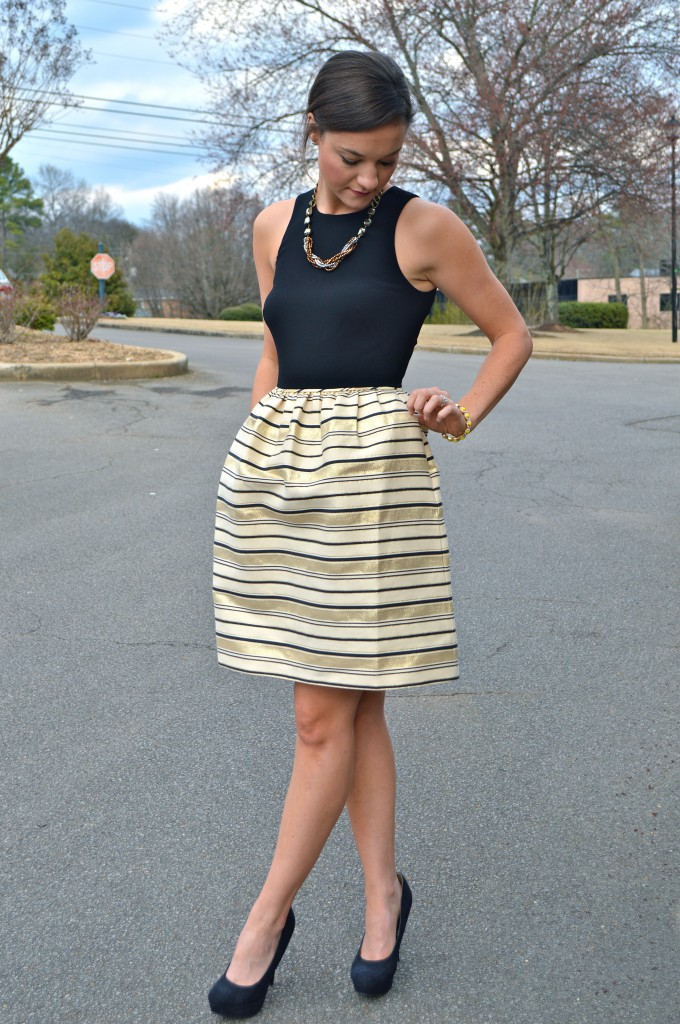 J Crew Gold Stripe Dress