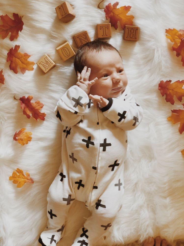 Sharing Finn's First Baby Milestones by Month by Heather at MyLifeWellLoved.com // #onemonthold #babymilestones