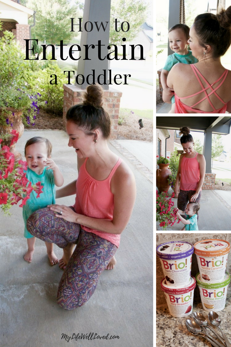 how to entertain a toddler - tips and tricks from Heather Brown of MyLifeWellLoved.com // Mom athleisure wear // Mom and baby boy style // Entertaining Toddlers // Bored Toddlers
