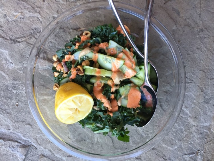 One Bowl Kale Salad from Heather Brown of MyLifeWellLoved.com // Salad Recipe // Kale Salad Lunch Recipe