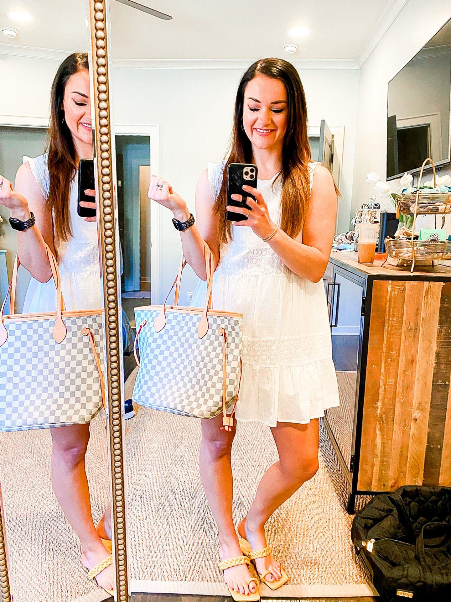 White dress, Louis Vuitton dupe