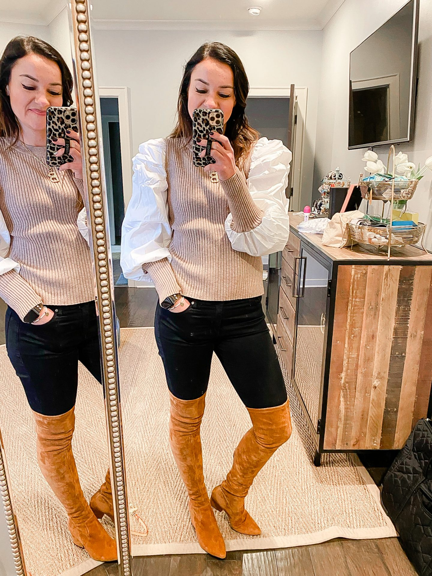 Tan sweater with puff sleeves, over the knee boots
