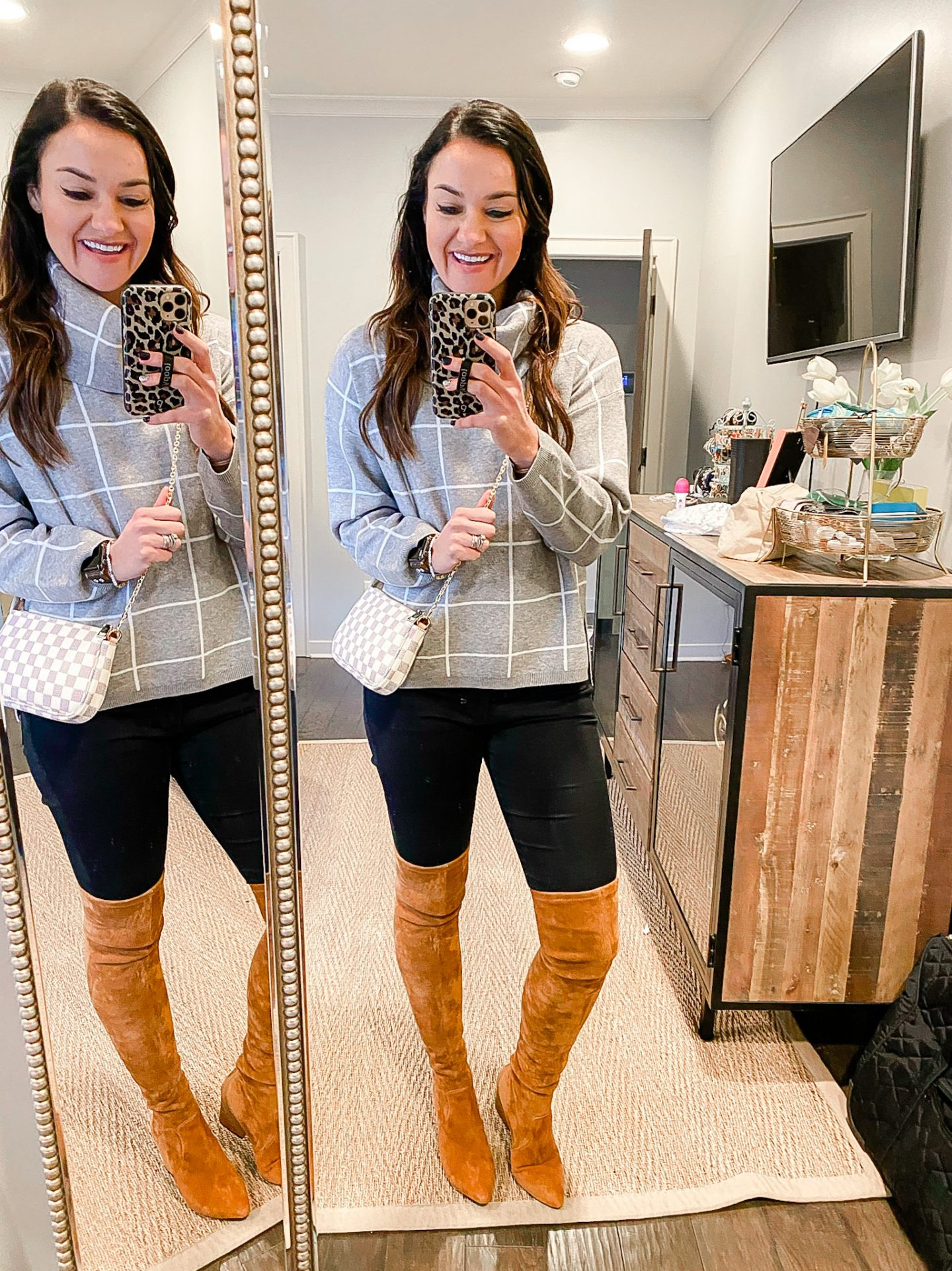 Gray turtleneck and over the knee boots