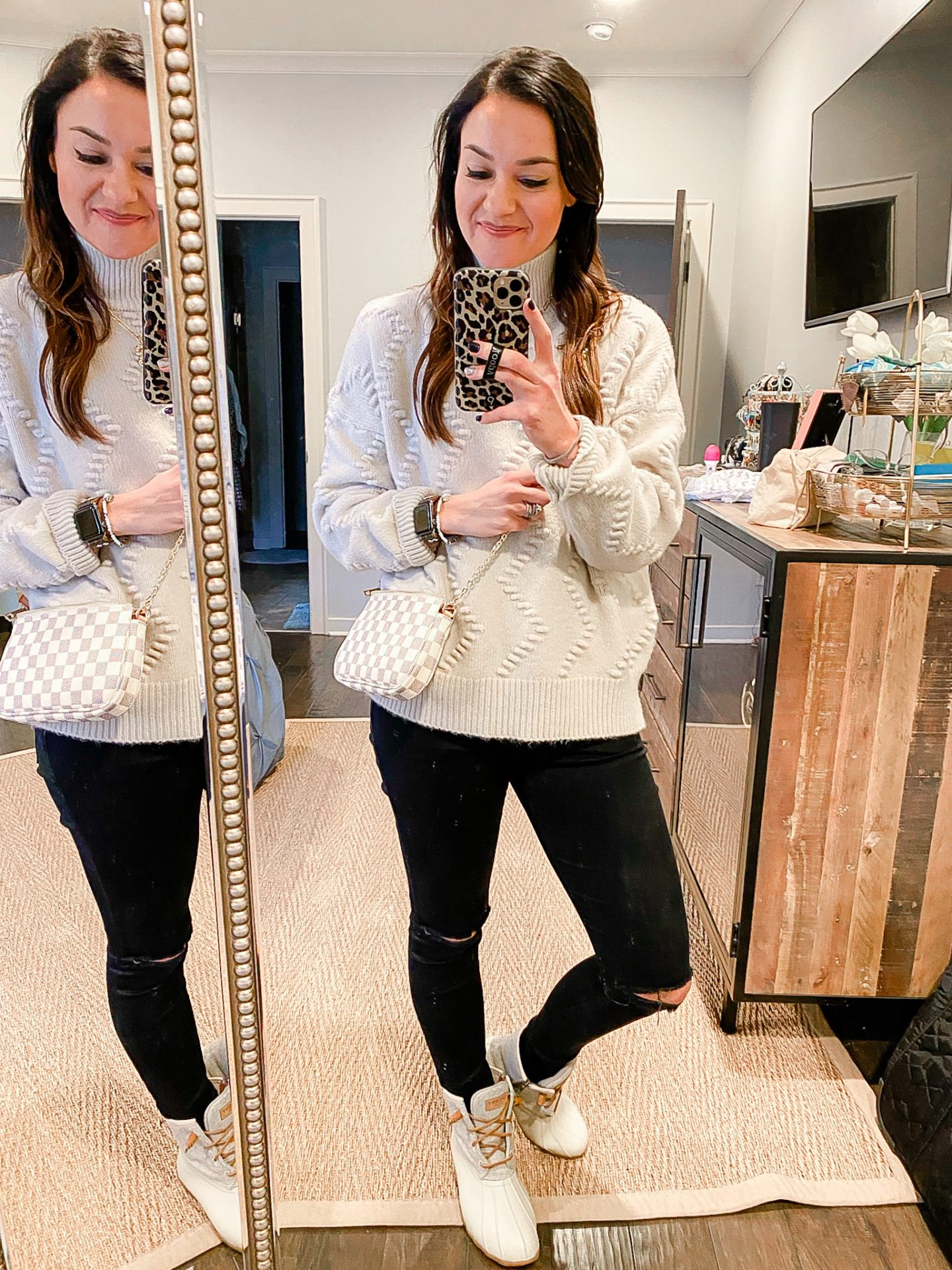 Cream turtleneck sweater outfit