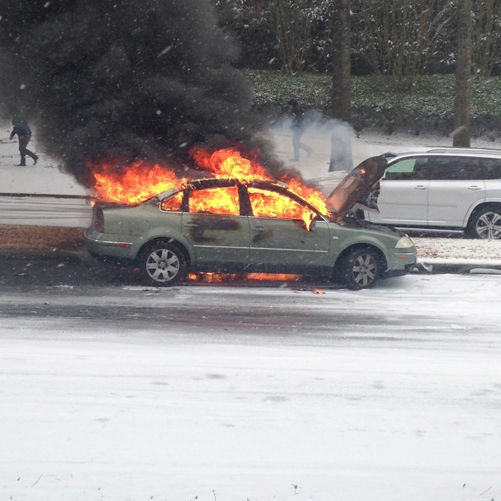 Car on Fire in Birmingham Snow Storm 2014