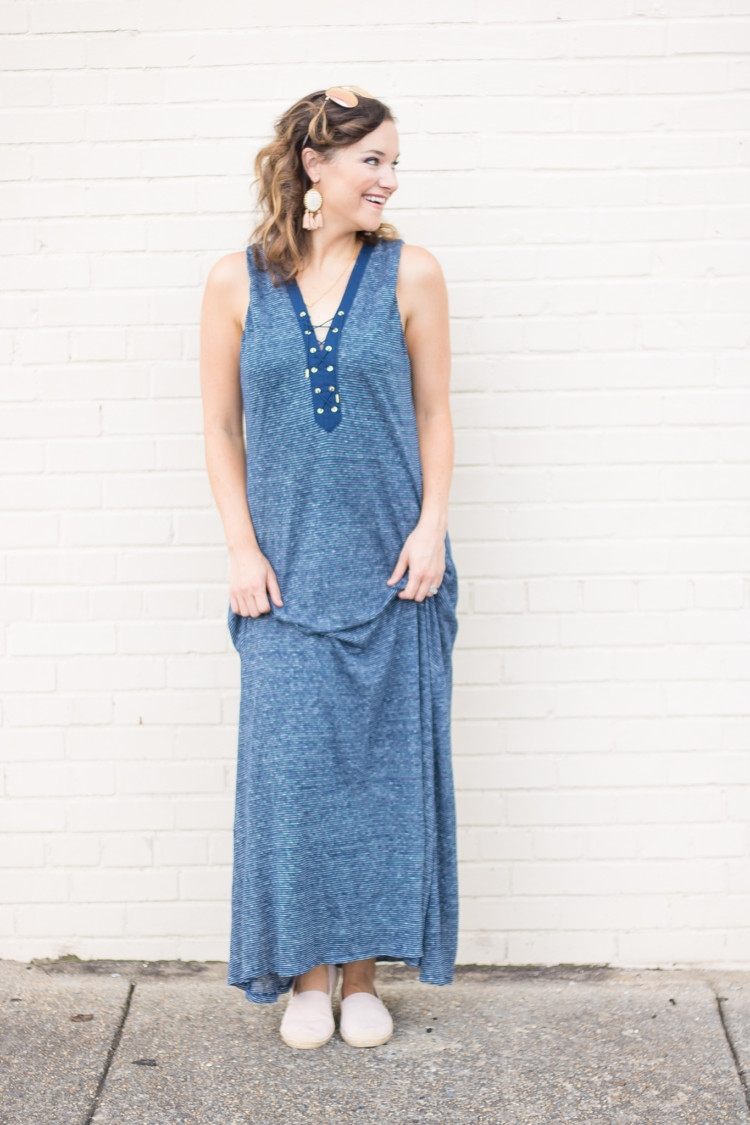 Striped Maxi Dress from Alabama Blogger Heather of MyLifeWellLoved.com // Statement earrings with maxi dress // mom style / pink flat shoes for women