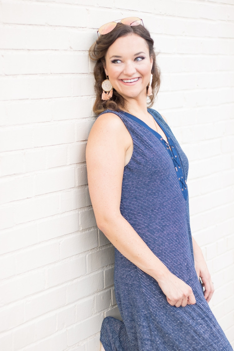 Striped Maxi Dress from Alabama Blogger Heather of MyLifeWellLoved.com // Statement earrings with maxi dress // mom style