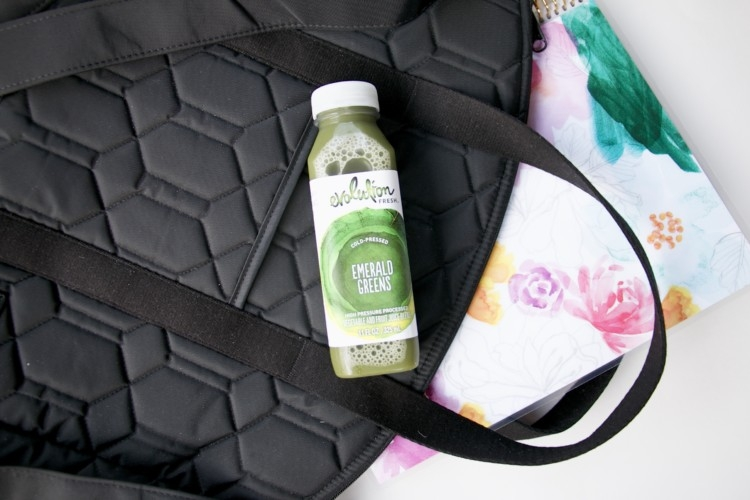 Evolution Fresh Juice for Whole 30 and Paleo lifestyle with Heather Brown of MyLifeWellLoved.com // Cinda B Bag // Cut Out Sleeves Joah Brown Top athleisure wear from MyLifeWellLoved.com