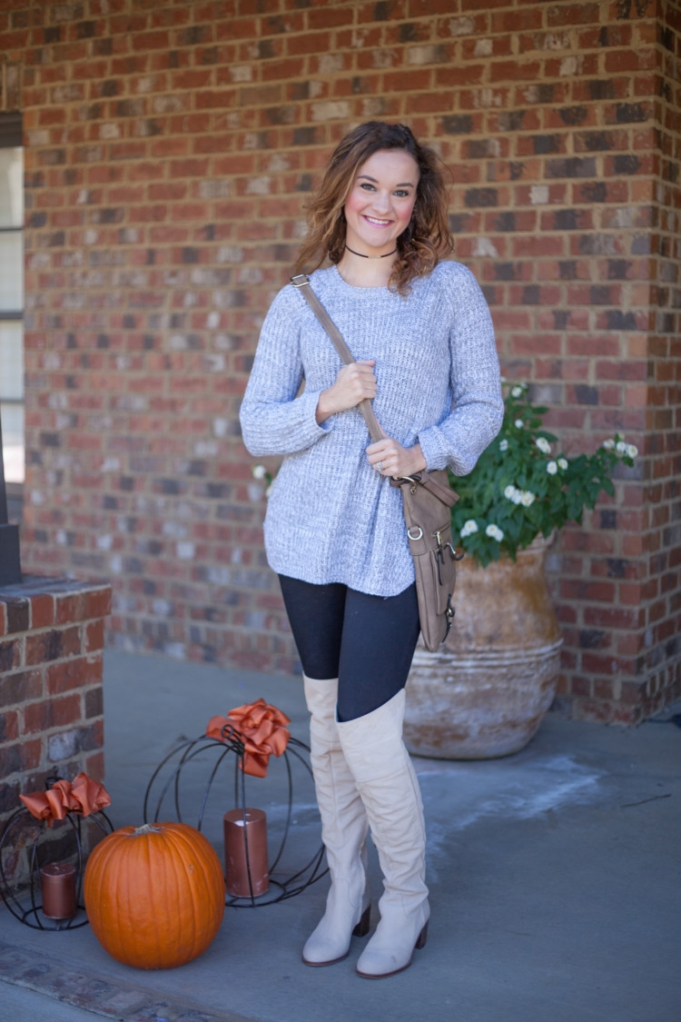 Littles Style: Gray Sweater, Over the Knee Boots styled by mom fashion blogger Heather Brown of MyLifeWellLoved.com