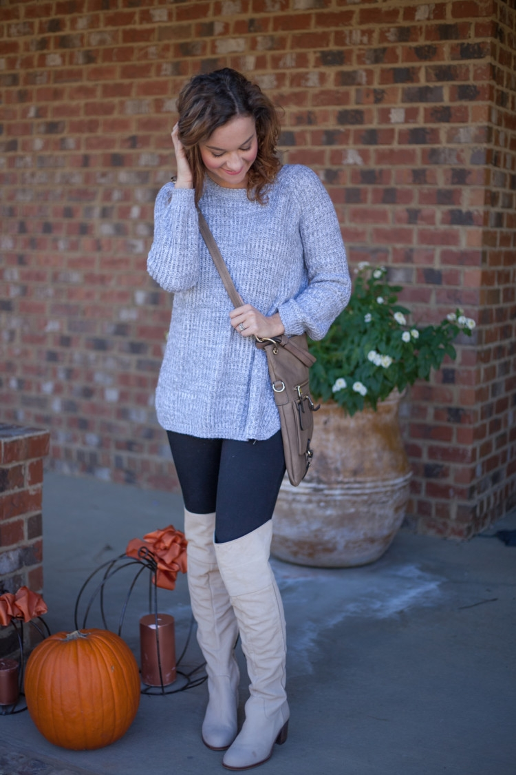 Gray Sweater, Over the Knee Boots styled by mom fashion blogger Heather Brown of MyLifeWellLoved.com