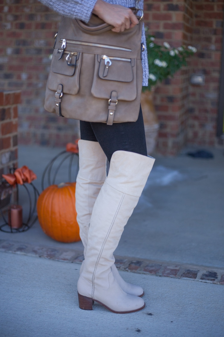 OTK Boots for Mom Fashoin: Littles Style: Gray Sweater, Over the Knee Boots styled by mom fashion blogger Heather Brown of MyLifeWellLoved.com