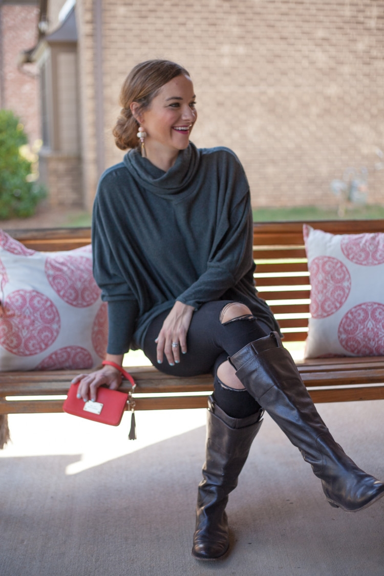 Fall style for moms at it's best: Ripped Denim, Tall Riding Boots and a Cozy Sweater from Heather Brown of My Life Well Loved