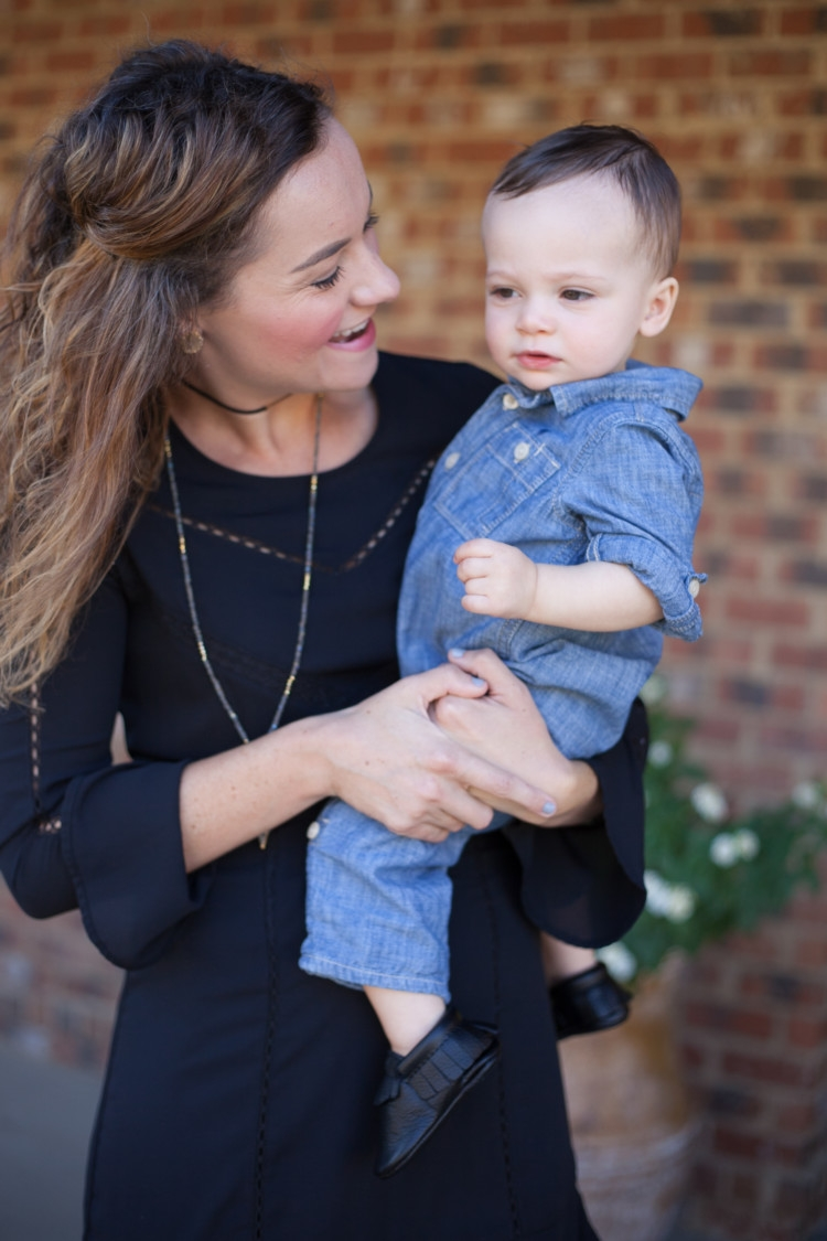 Baby Boy and mom fashion: Winter Little Black Dress || Winter Dress || Party Dress || Work Party Dress || Church Dress from fashion blogger Heather Brown of MyLifeWellLoved.com
