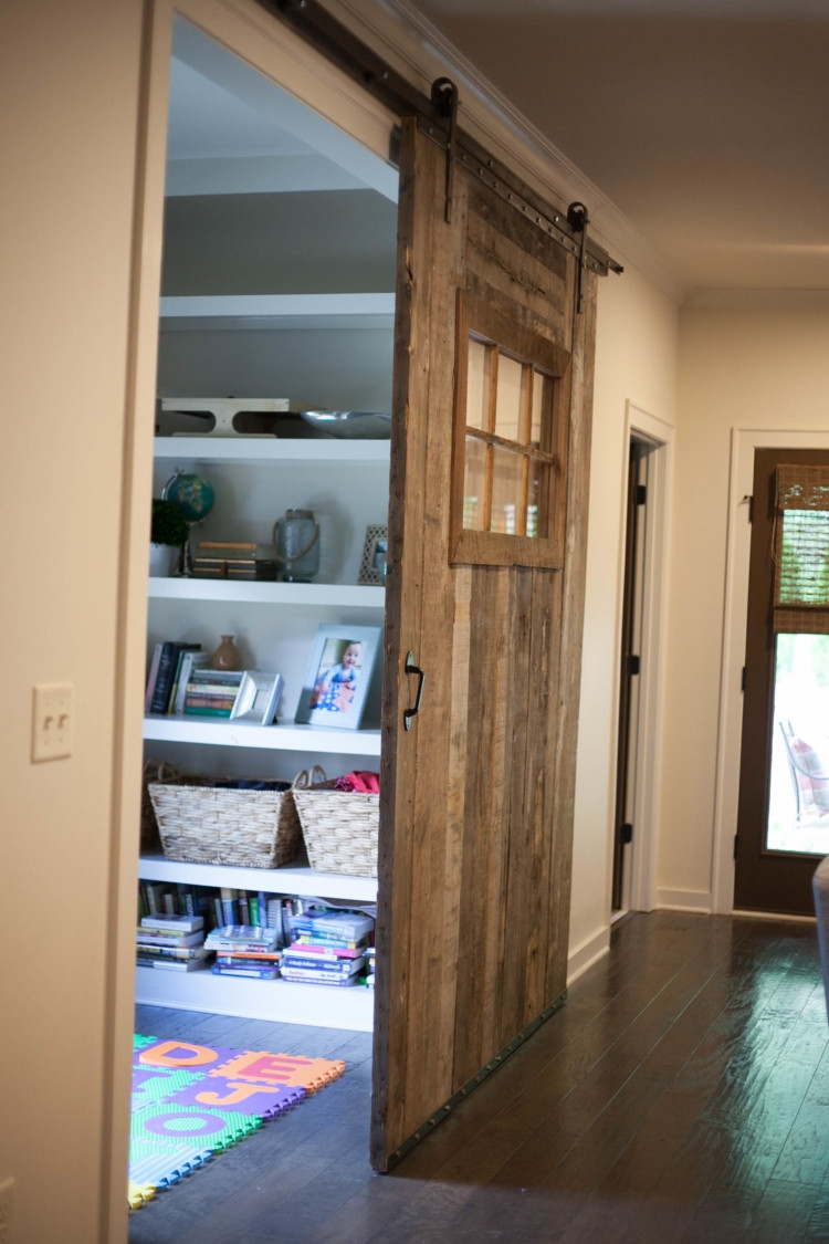 Cozy Home Decor Barn Door // AL blogger My Life Well Loved Shows Her New Barn Door from Cotton Gin Provisions & How to Use it to Baby Proof