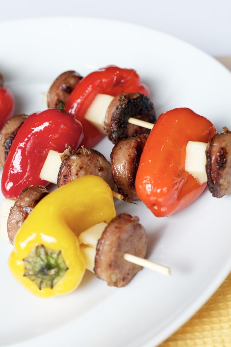 Healthy and Oh-So-Delicious Chicken Kabobs Recipe from Heather Brown of MyLifeWellLoved.com // Clean Eating Chicken Sausage Recipes -- All Natural Recipes